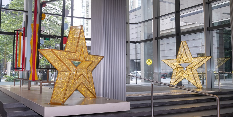 Large LED gold stars in Commercial foyer