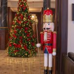 standing nutcracker in red and white