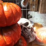 Halloween pumpkins skull and cage