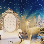 White throne reindeer and snow tree