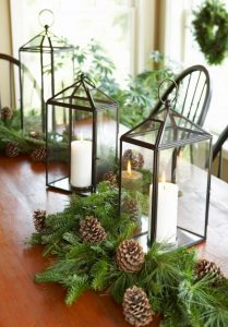 Natural christmas foliage and lanterns