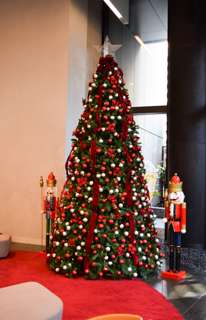 Red and Silver Christmas tree with 2 nutcracker soldiers