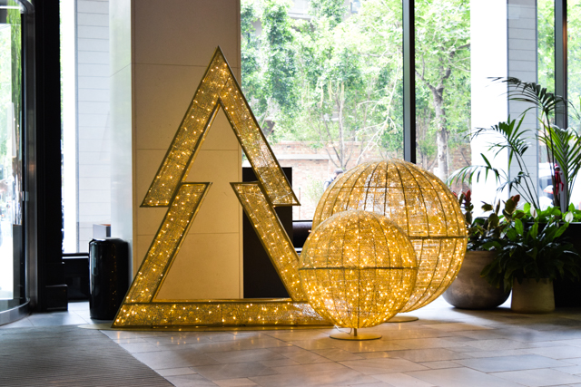 LED Christmas tree shape and baubles