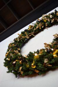 Large Christmas wreath on wall