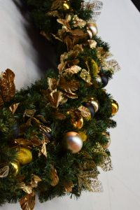 Detail closeup of large commercial Christmas wreath
