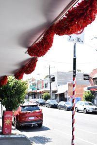Red Christmas tinsel