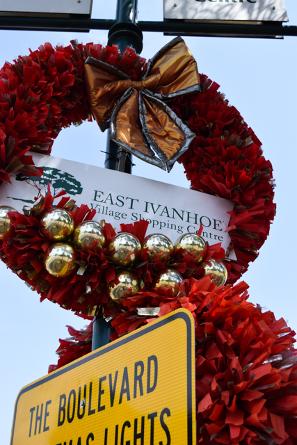 Christmas tinsel red wreaths, East Ivanhoe