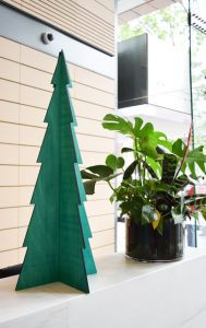 Green plywood Christmas tree