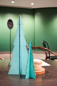 Desktop Christmas plywood trees in green