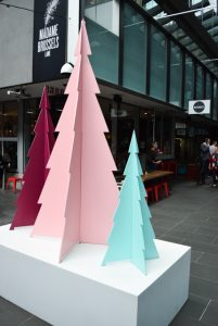 Three plywood Christmas tree on base box