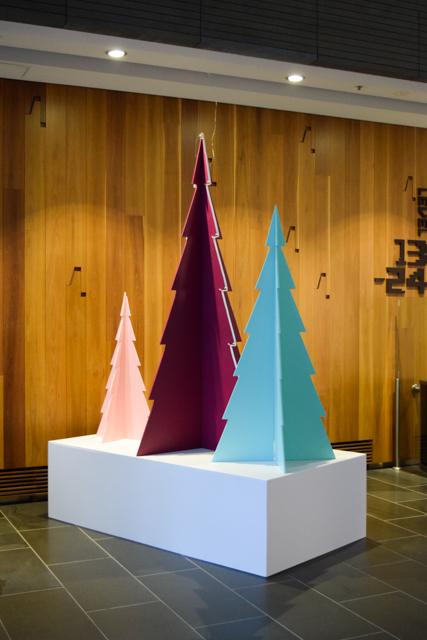 Three plywood Christmas tree on base box