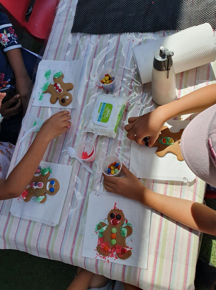 Table of gingerbread decorating