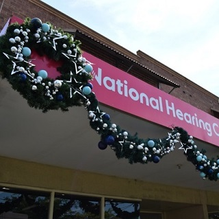 Wreath and garland on building