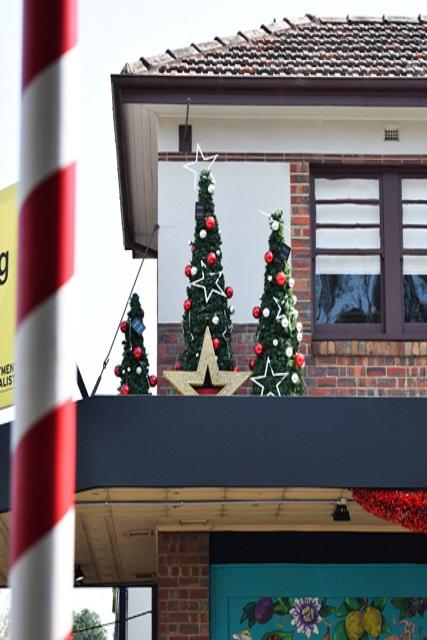 Christmas trees on awning