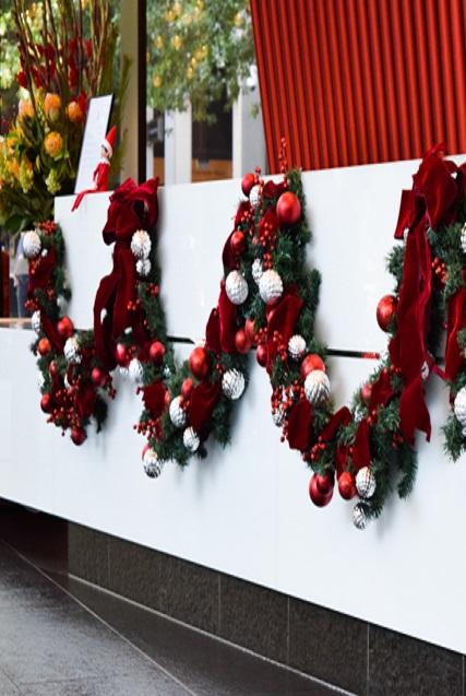 Christmas garland along reception desk