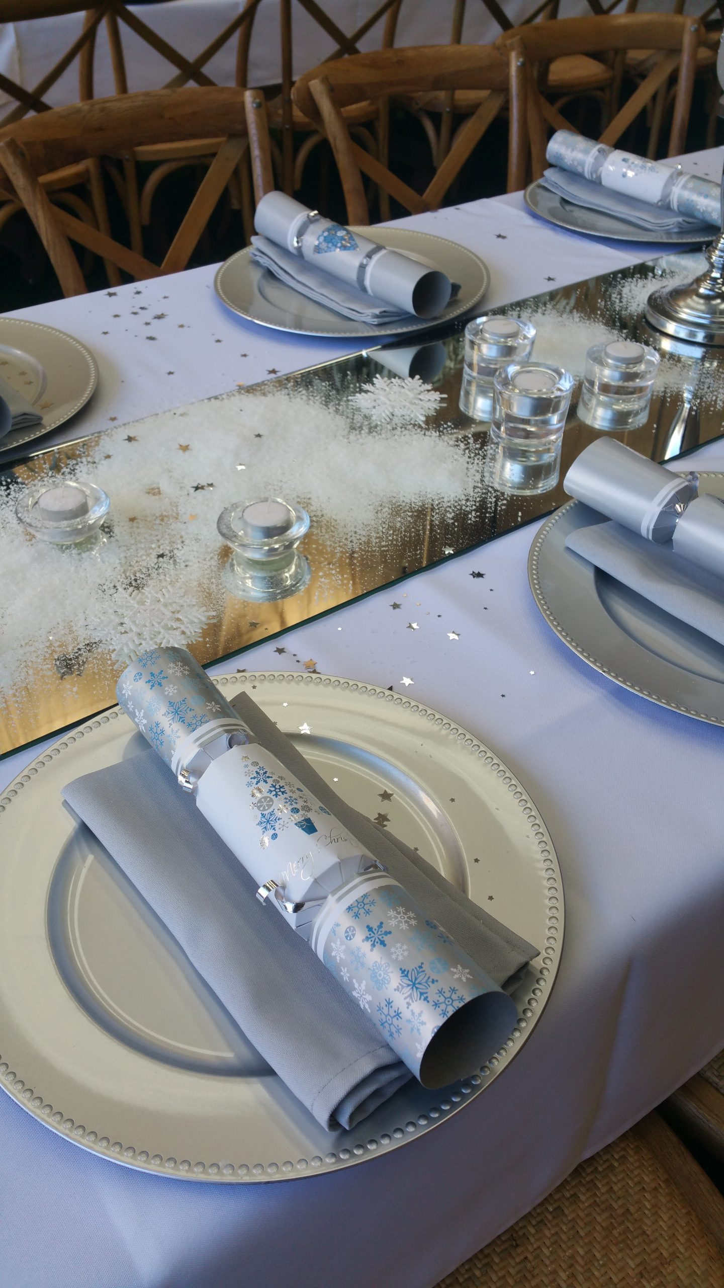 Winter Christmas table decorations
