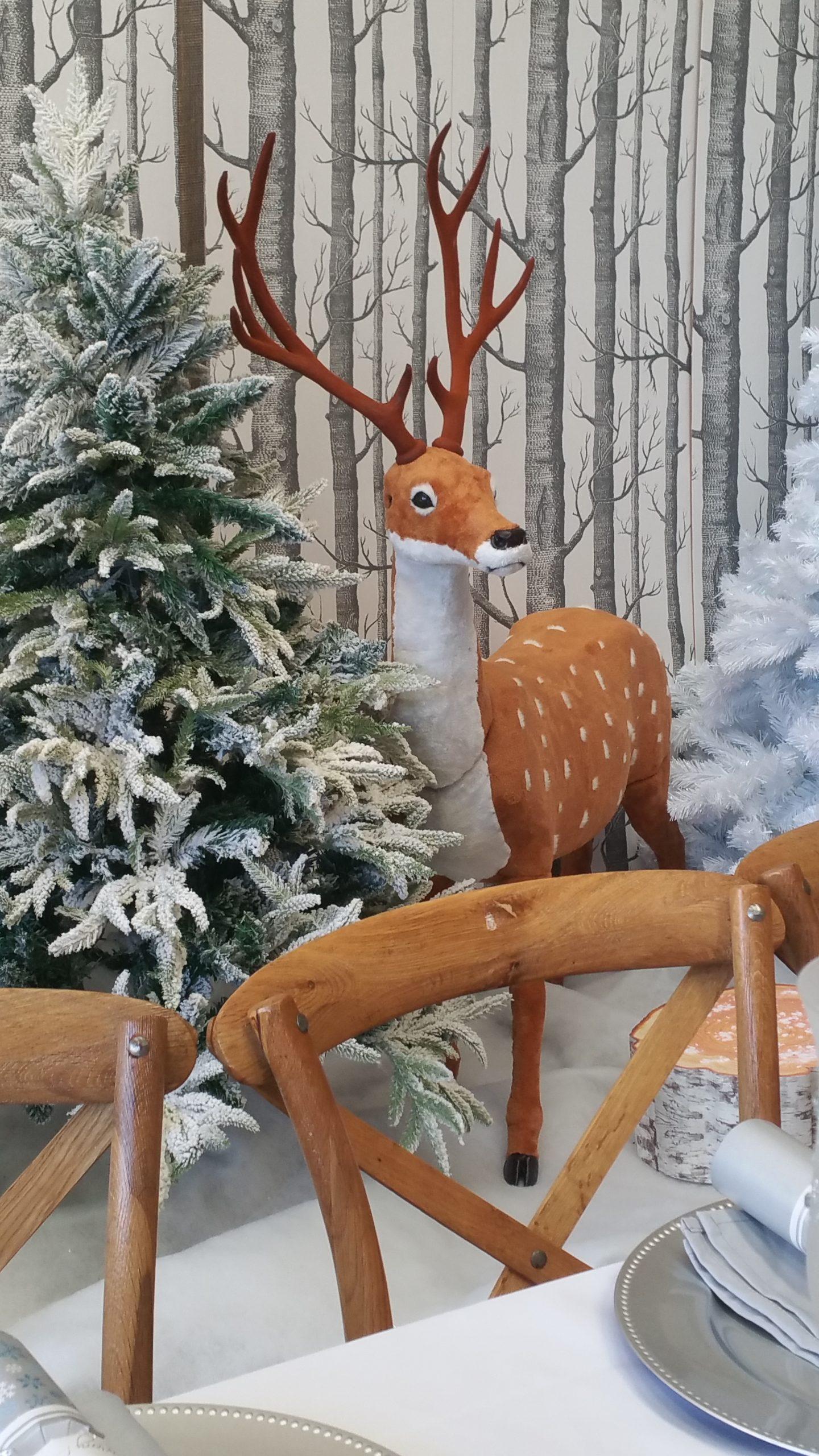 Brown Christmas reindeer in wintery setting