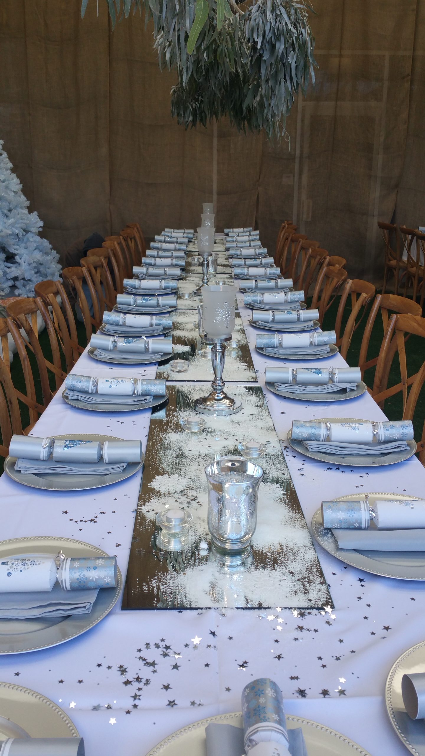 Winter Christmas table is set