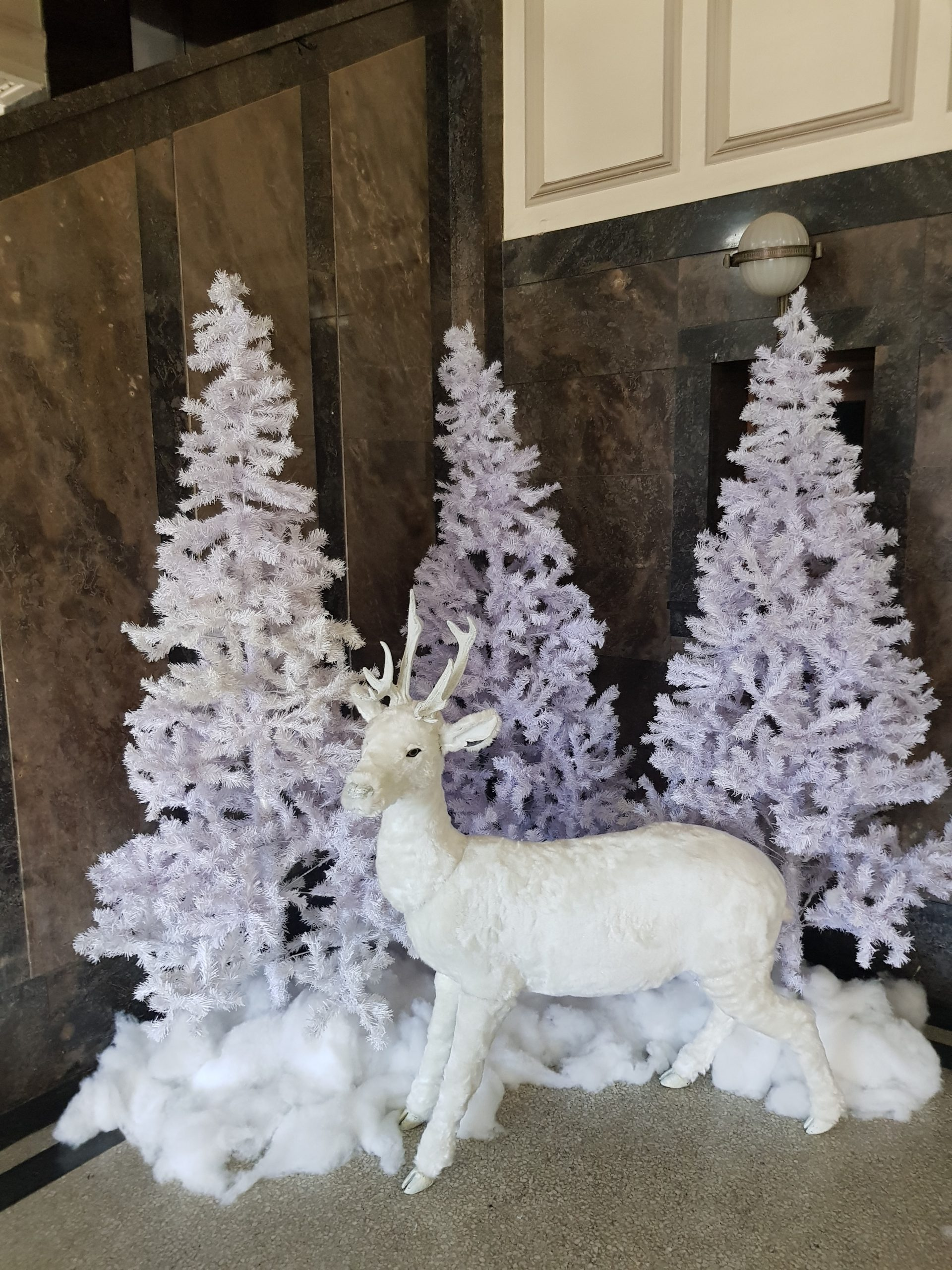 Simple white trees with our 1.5m reindeer