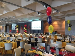 Balloon centerpieces, Zinc Function Room for AFL Grandfinal 2019