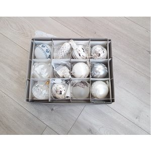 Box of 6 glass silver white christmas ornaments glass