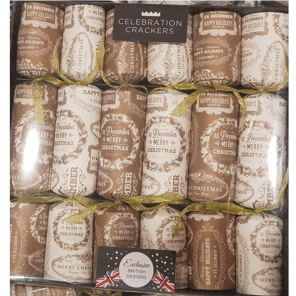 Brown and white Christmas crackers
