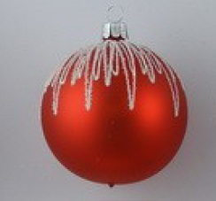 Red and white CZECH glass bauble