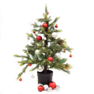 Red and Silver potted Christmas tree