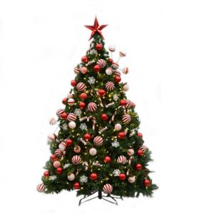 Candy stripe decorated Christmas tree