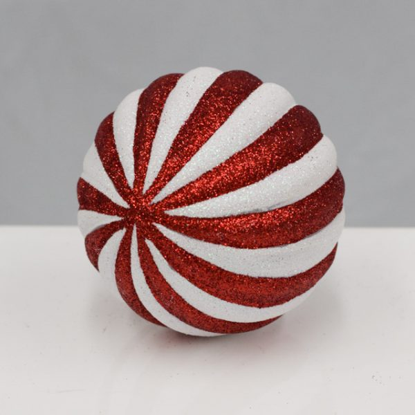 10cm Red white candy bauble