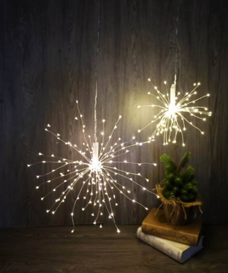Dual Power 200 LED Firework Hanging Light – Silver Wire