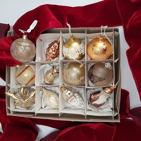 Gold CZECH glass baubles box 12
