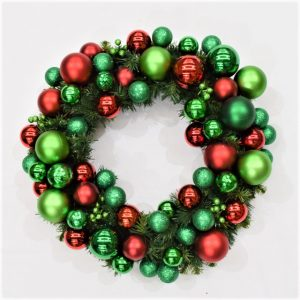 Red, green and lime Christmas wreath