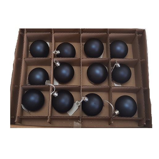 Mini Navy coloured glass baubles box 12