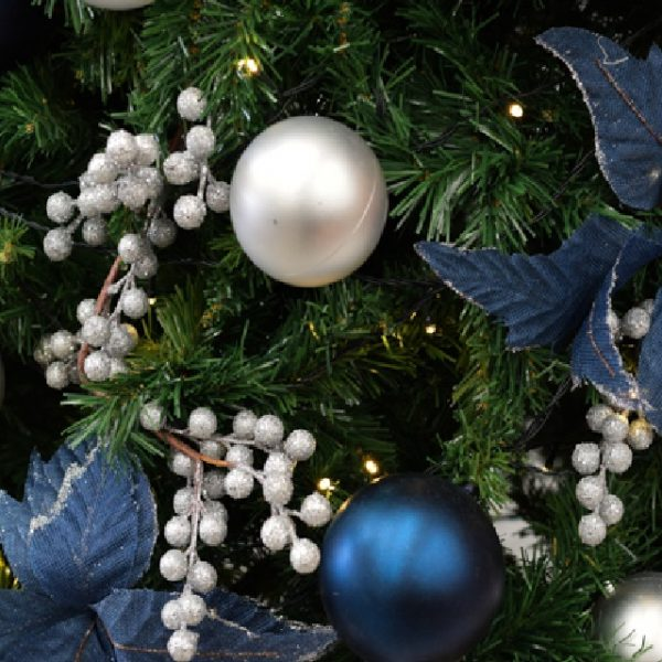 Close up of silver and navy Christmas decorations
