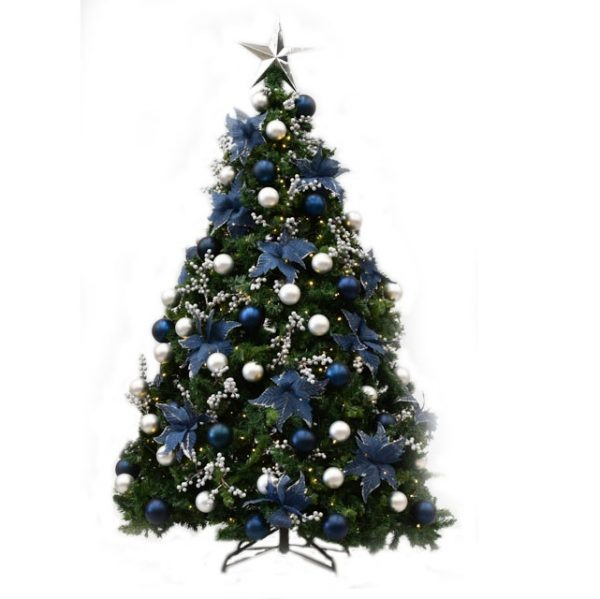 Navy and Silver decorated Christmas tree