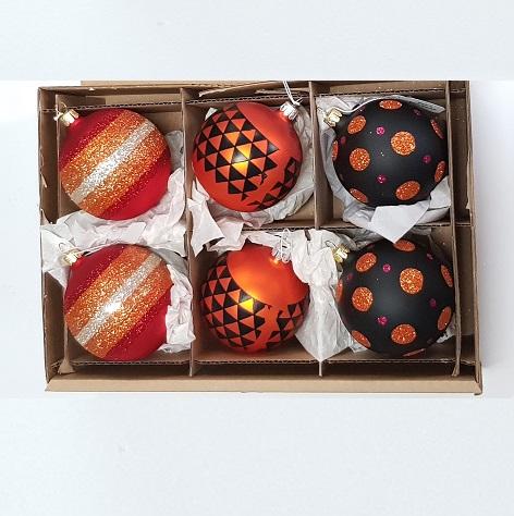 Orange patterned CZECH glass baubles