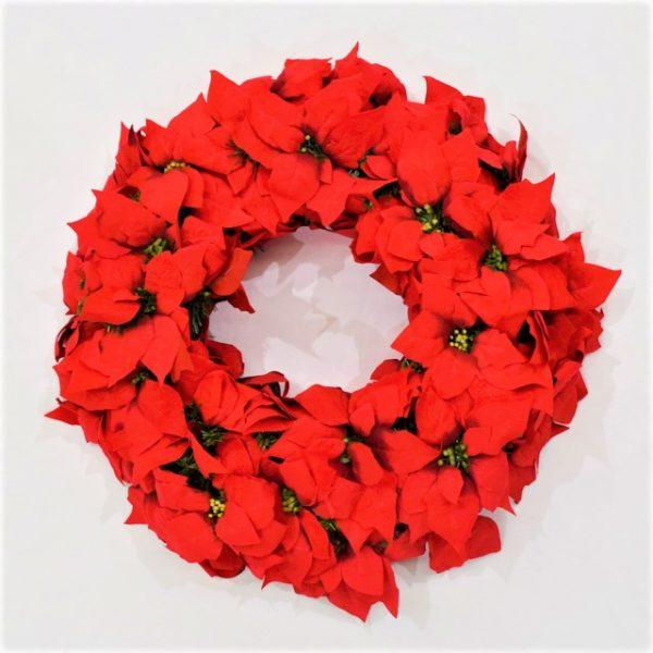 Red Poinsettia flower Christmas wreath