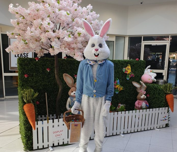 Costume Easter Bunny in front of Easter display