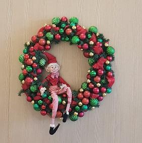 Christmas wreath with elf