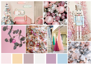 Display boxes of Christmas in pastels, shades of pink
