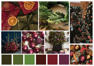Display boxes of Christmas in natural greenery, and foliage. Burgandy to green