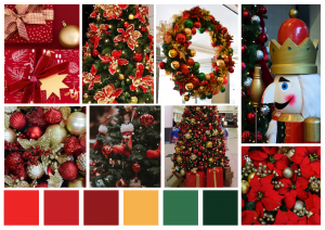 Display boxes of Christmas in reds, gold and greens.