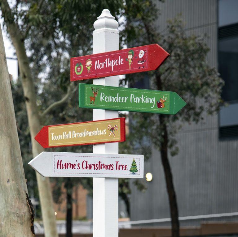 Way finder signage for Christmas garden